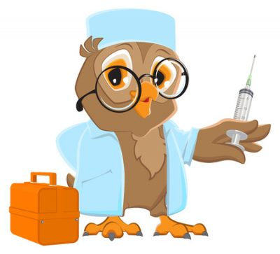 53652991 - owl doctor holding syringe. owl veterinarian in white coat.